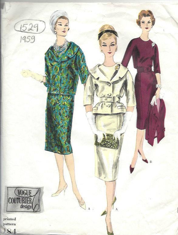 1959-Vintage-VOGUE-Sewing-Pattern-B34-DRESS-JACKET-