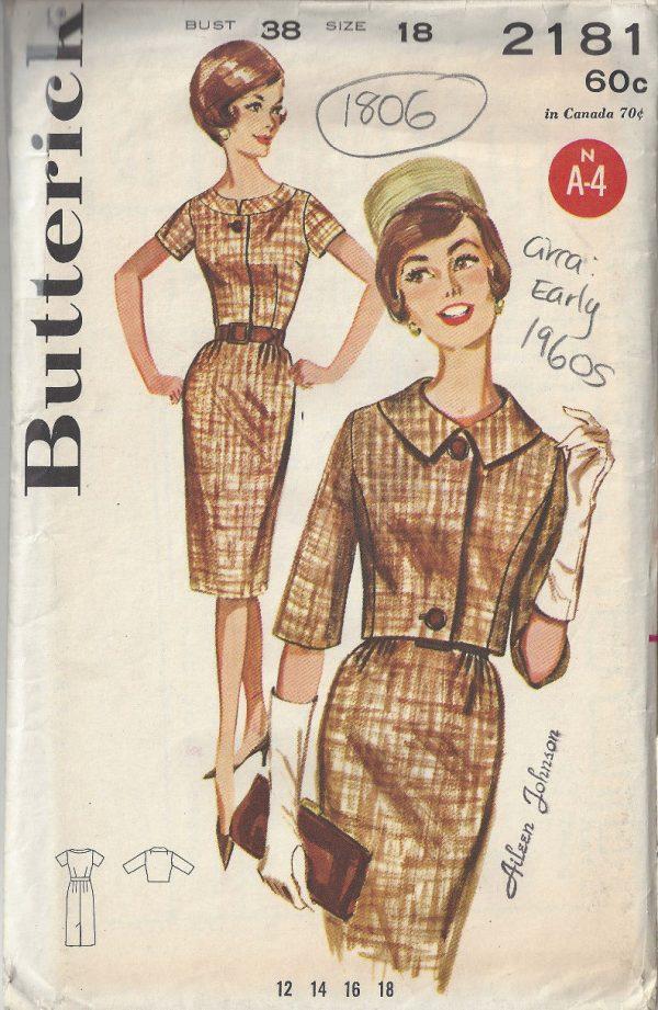 1960s Vintage Sewing Pattern B38 Jacket Dress 1806rr Butterick