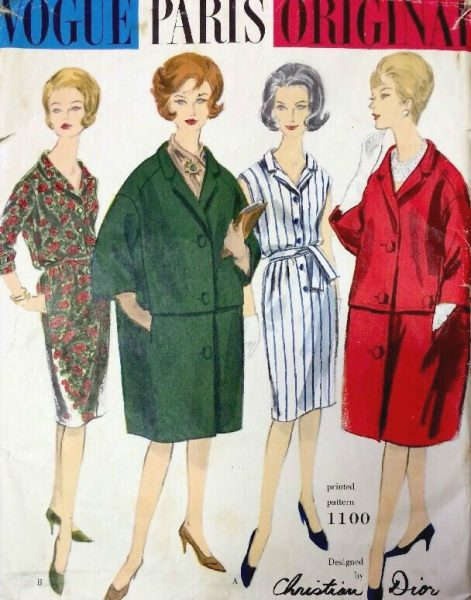 1960s Vintage VOGUE Sewing Pattern B34 DRESS & COAT (1383R ...