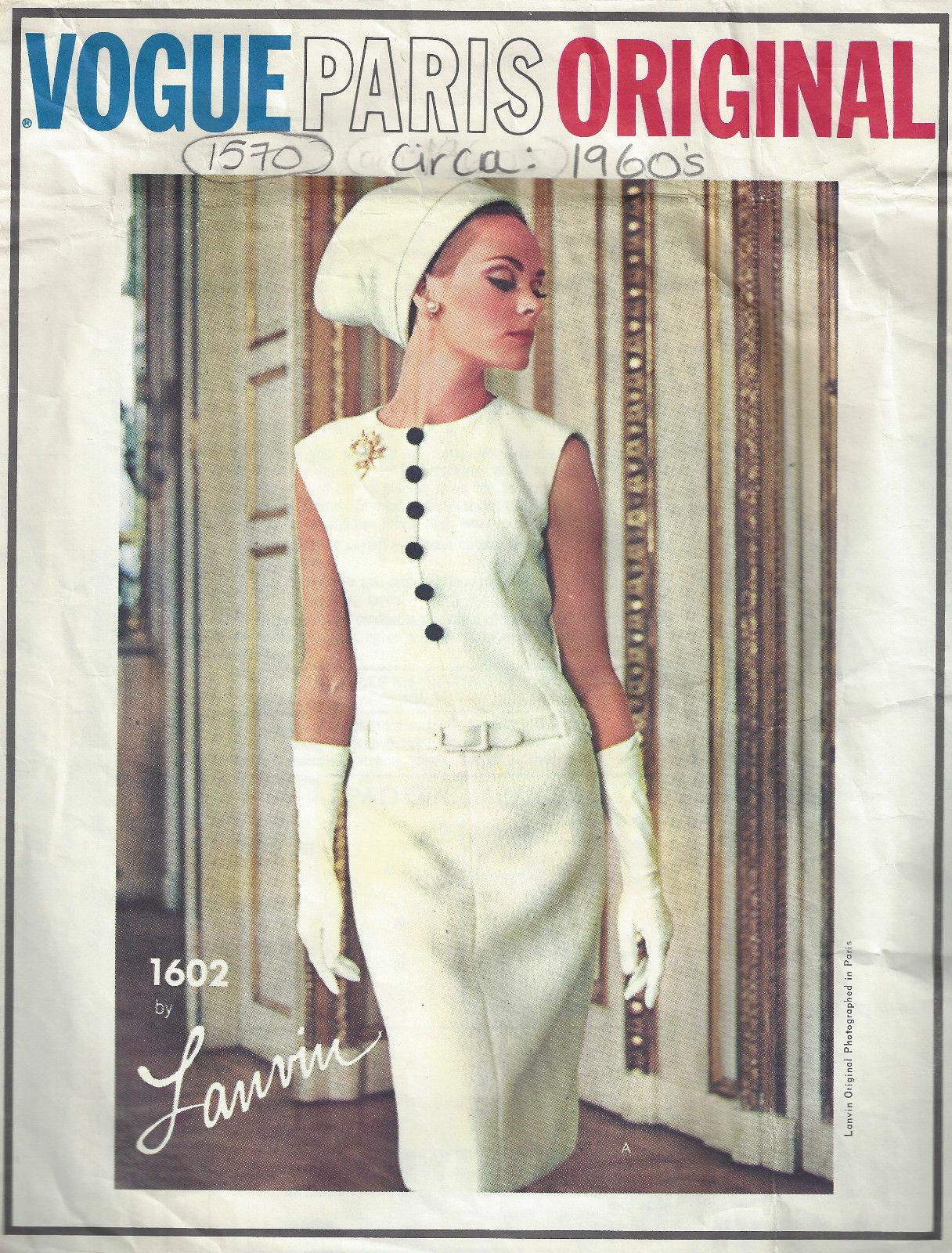 """1593 1961 Vintage Vogue Couture Motif B38 /"""" Robe Ceinture Drapée Tablier"""