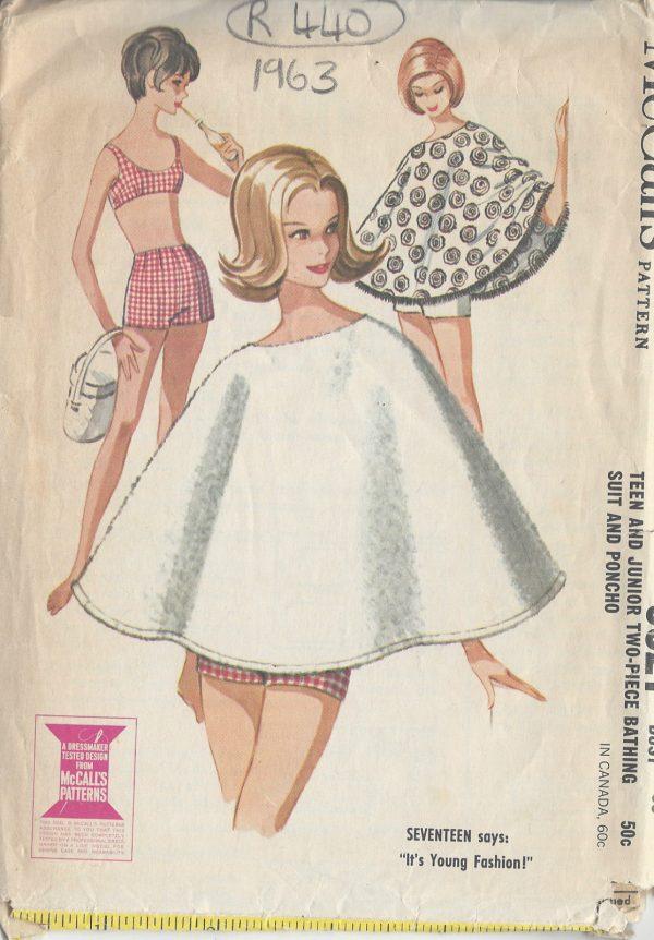 1963-Vintage-Sewing-Pattern-B30-BATHING-SUIT-PONCHO-R440-251154324471