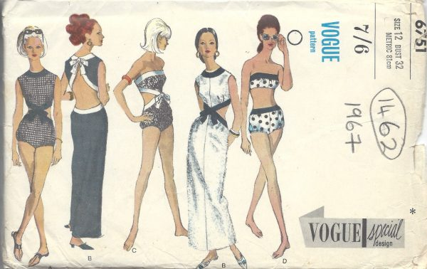 1967 Vintage VOGUE Sewing Pattern B32 DRESS PLAYSUIT BATHING SUITS ...