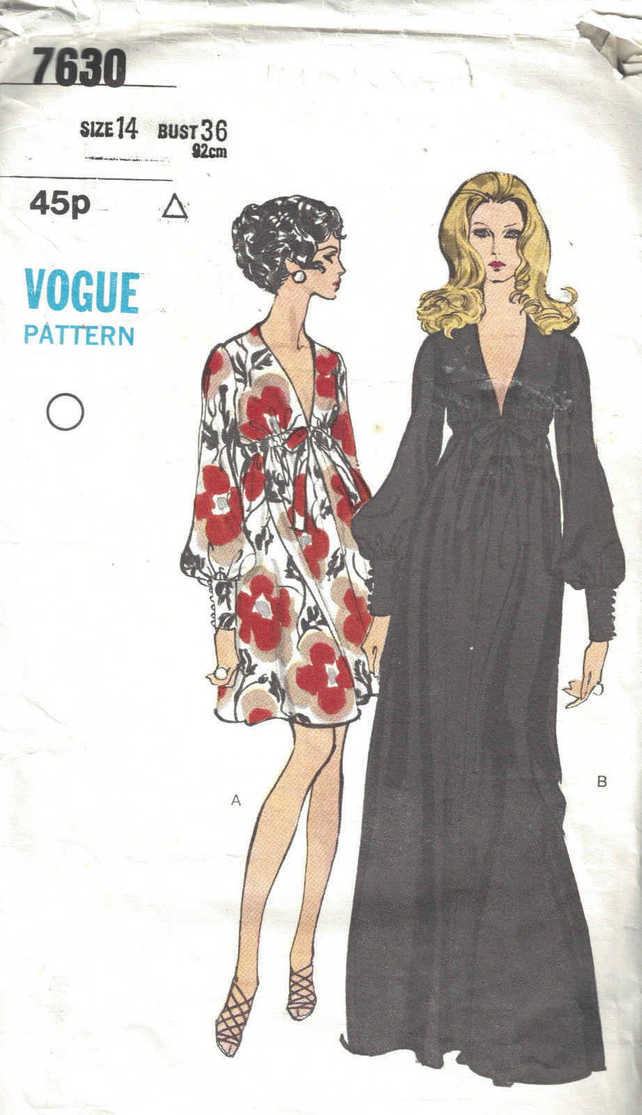 1969 Vintage VOGUE Sewing Pattern DRESS B36 (1781)