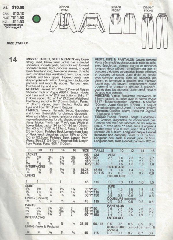 1985-Vintage-VOGUE-Sewing-Pattern-B36-SKIRT-PANTS-JACKET-1704-By-Adri-252484242381-2