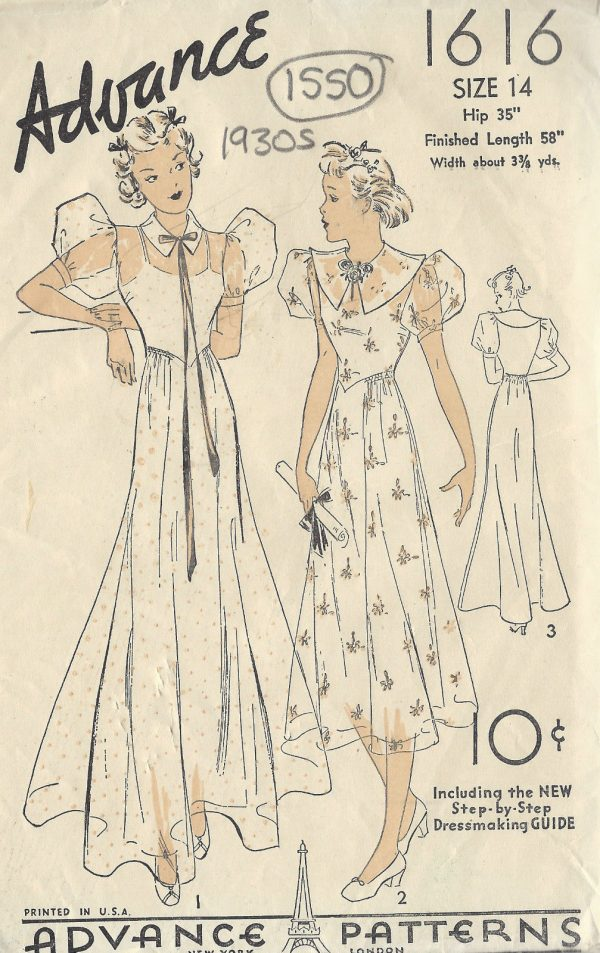 1930s-Vintage-Sewing-Pattern-B32-DRESS-1550-252168040282