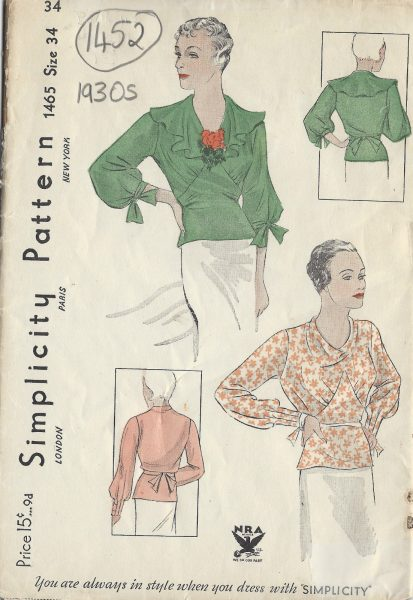 1930s Vintage Blouse Sewing Patterns Available Online