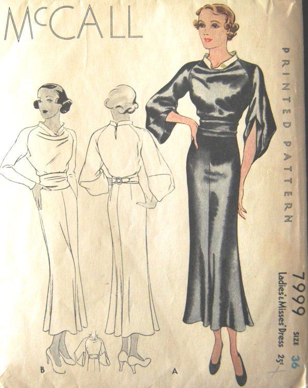 1930s Vintage Sewing Pattern B36 DRESS (1430) - The Vintage Pattern Shop