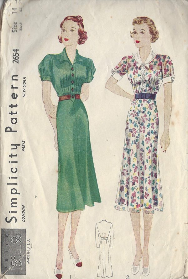 1930s Vintage Sewing Pattern Dress B32 Quot R586 The