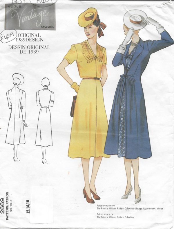 1939 Vintage VOGUE Sewing Pattern DRESS-COAT B34\
