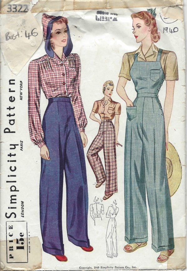 1940-Vintage-Sewing-Pattern-B46-W40-BLOUSE-TROUSERS-OVERALLS-1231-261645670002