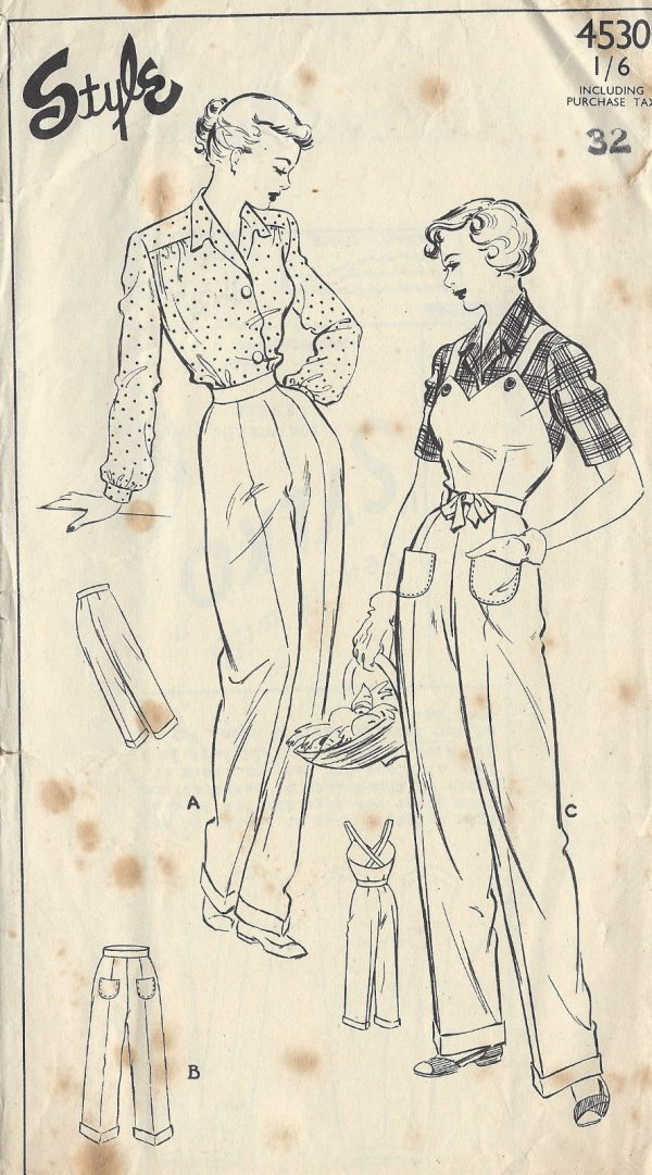 1940s-Vintage-Sewing-Pattern-B38-W32-DUNGAREES-PANTS-TROUSERS-1314-251629997732