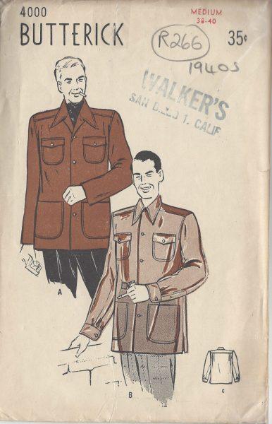 1940s Vintage Sewing Pattern MEN\'S JACKET C38\