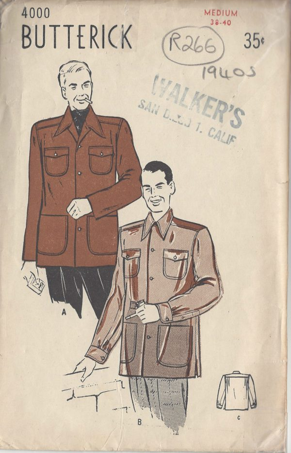 1940s Vintage Sewing Pattern MEN\'S JACKET C38\