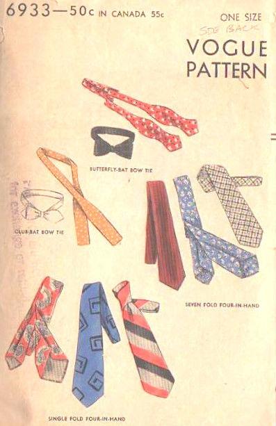 1940s Vintage Sewing Pattern S155 Mens Ties Neckwear 1348 The