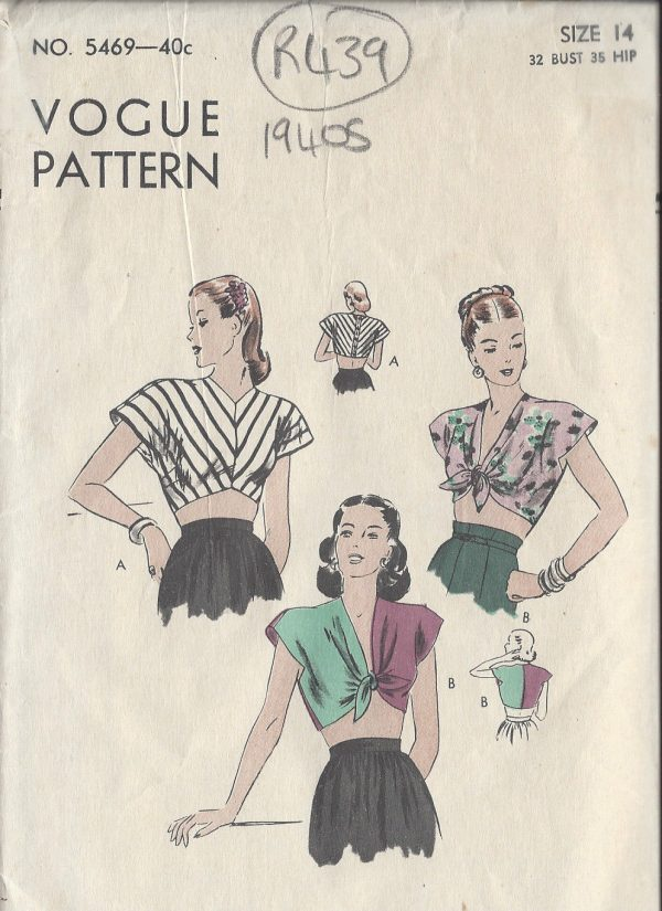"The Essential 1940s Style Blouse Vintage Frills: 1940s Vintage VOGUE Sewing Pattern B32"" BLOUSE (R439"