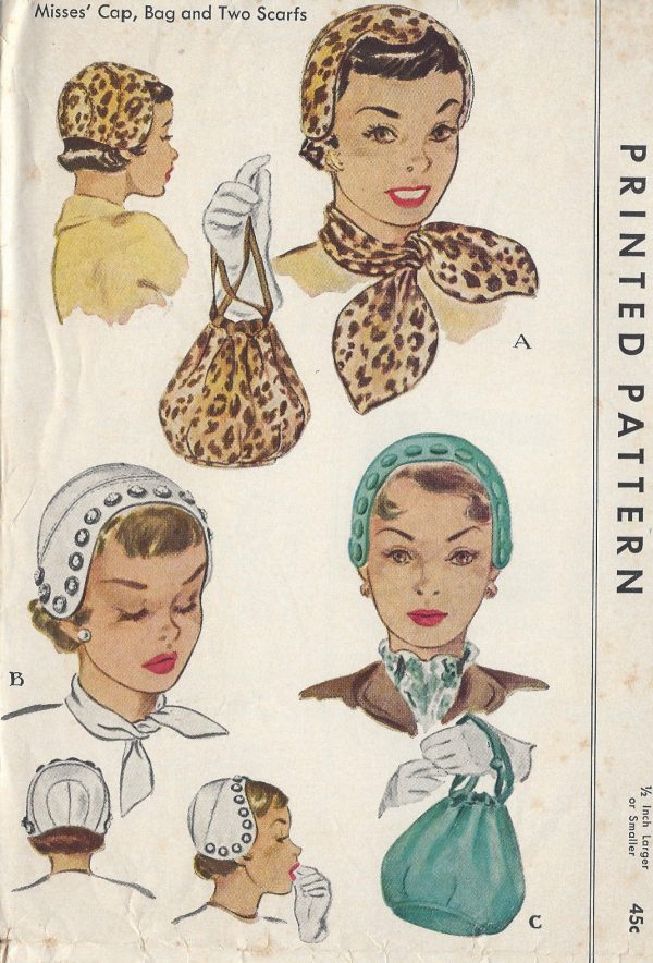 1950-Vintage-Sewing-Pattern-S22-CAP-BAG-SCARFS-R821-251220092962