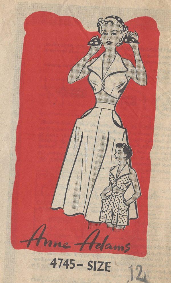 1950s-Vintage-Sewing-Pattern-B30-SKIRT-BRA-SHORTS-R81-By-Anne-Adams-251144744872