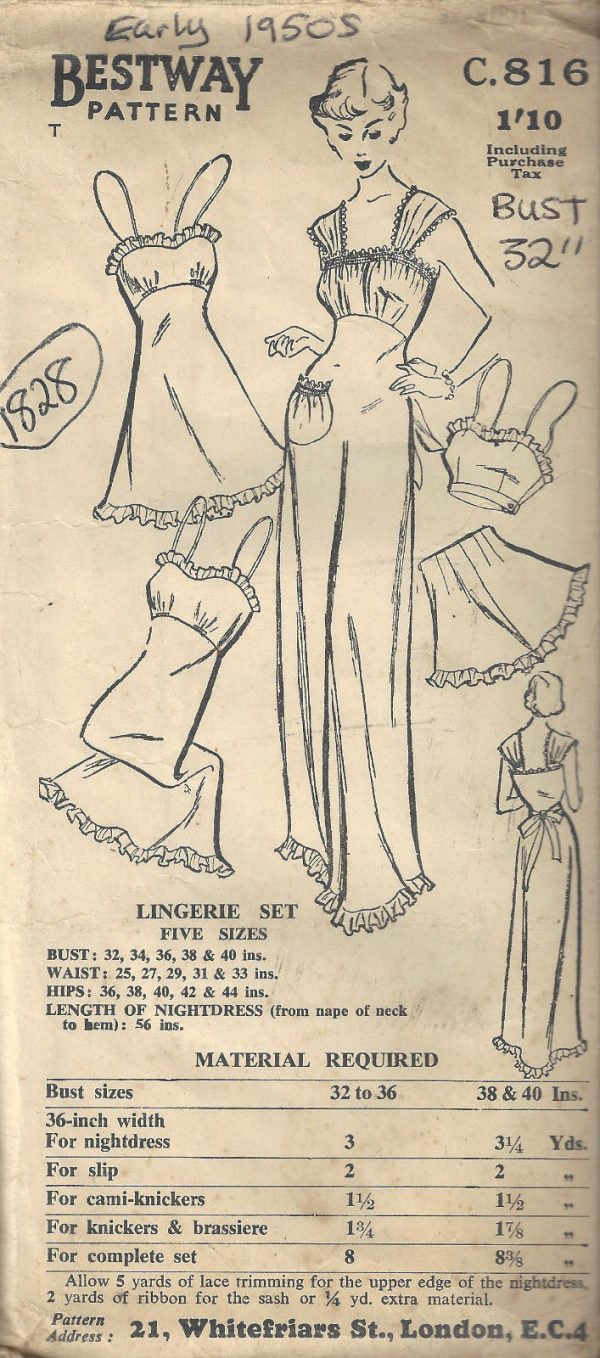 1950s-Vintage-Sewing-Pattern-B32-CAMI-KNICKERS-SLIP-NIGHTDRESS-BRASSIER-1828-252882853382