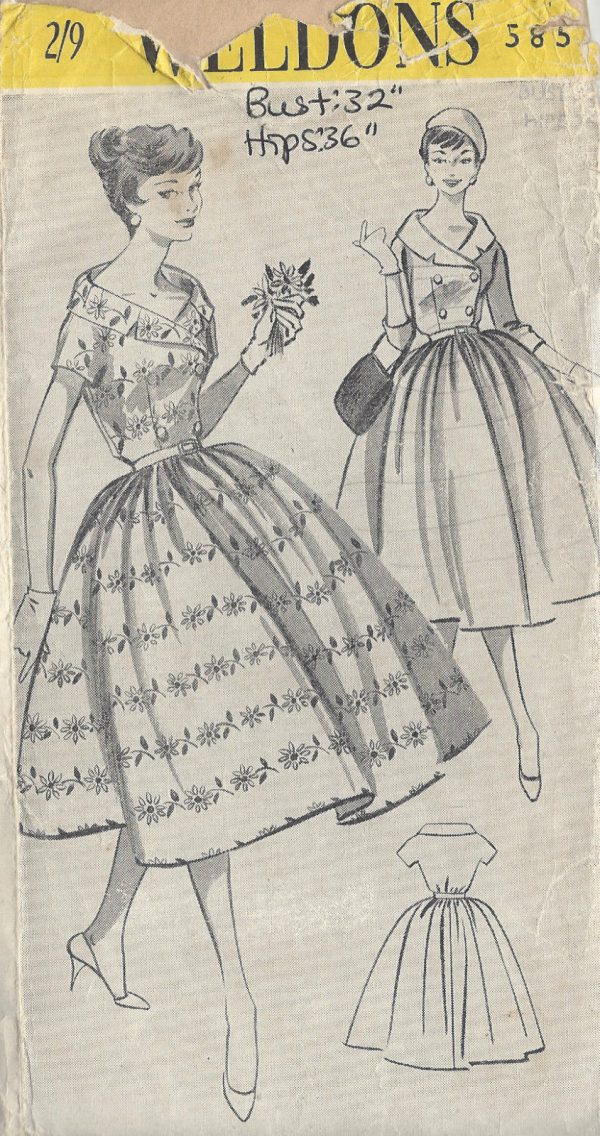 1950s-Vintage-Sewing-Pattern-B32-DRESS-R783-251188815102