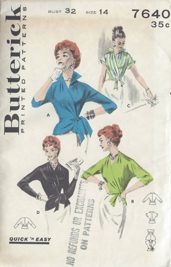 1950s-Vintage-Sewing-Pattern-B32-WRAP-OVER-BLOUSE-1006-261221483992