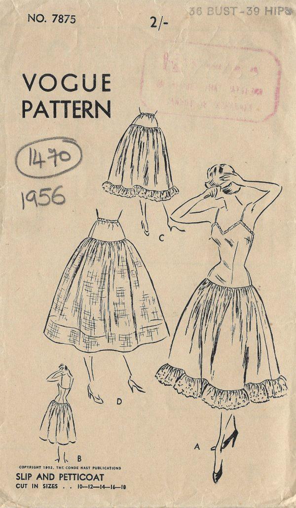 1956 Vogue Vintage Sewing Pattern B36 Slip Petticoat 1470 The