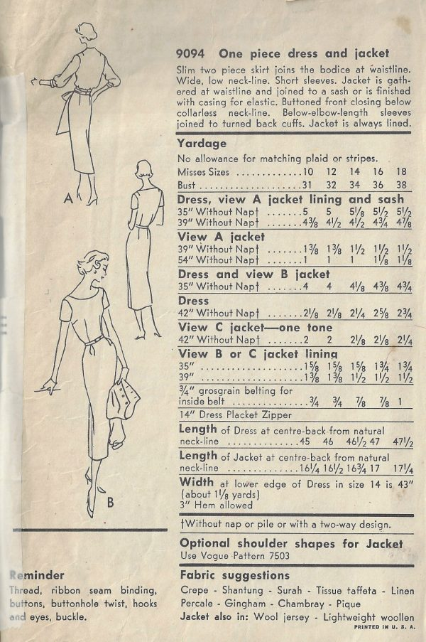 1957-Vintage-VOGUE-Sewing-Pattern-B34-DRESS-JACKET-1823R-252882165982-2