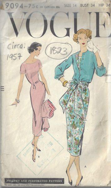 1957 Vintage VOGUE Sewing Pattern B34\