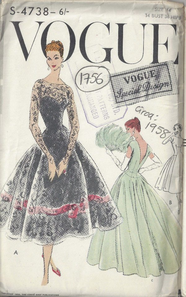 1958 Vintage Vogue Sewing Pattern B34 Dress 1756 The
