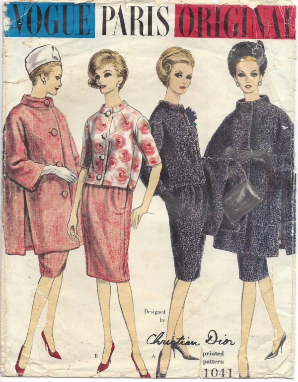 1960 Vintage Vogue Sewing Pattern B34 Suit Coat Jacket Skirt 1380 Dior The Vintage Pattern Shop