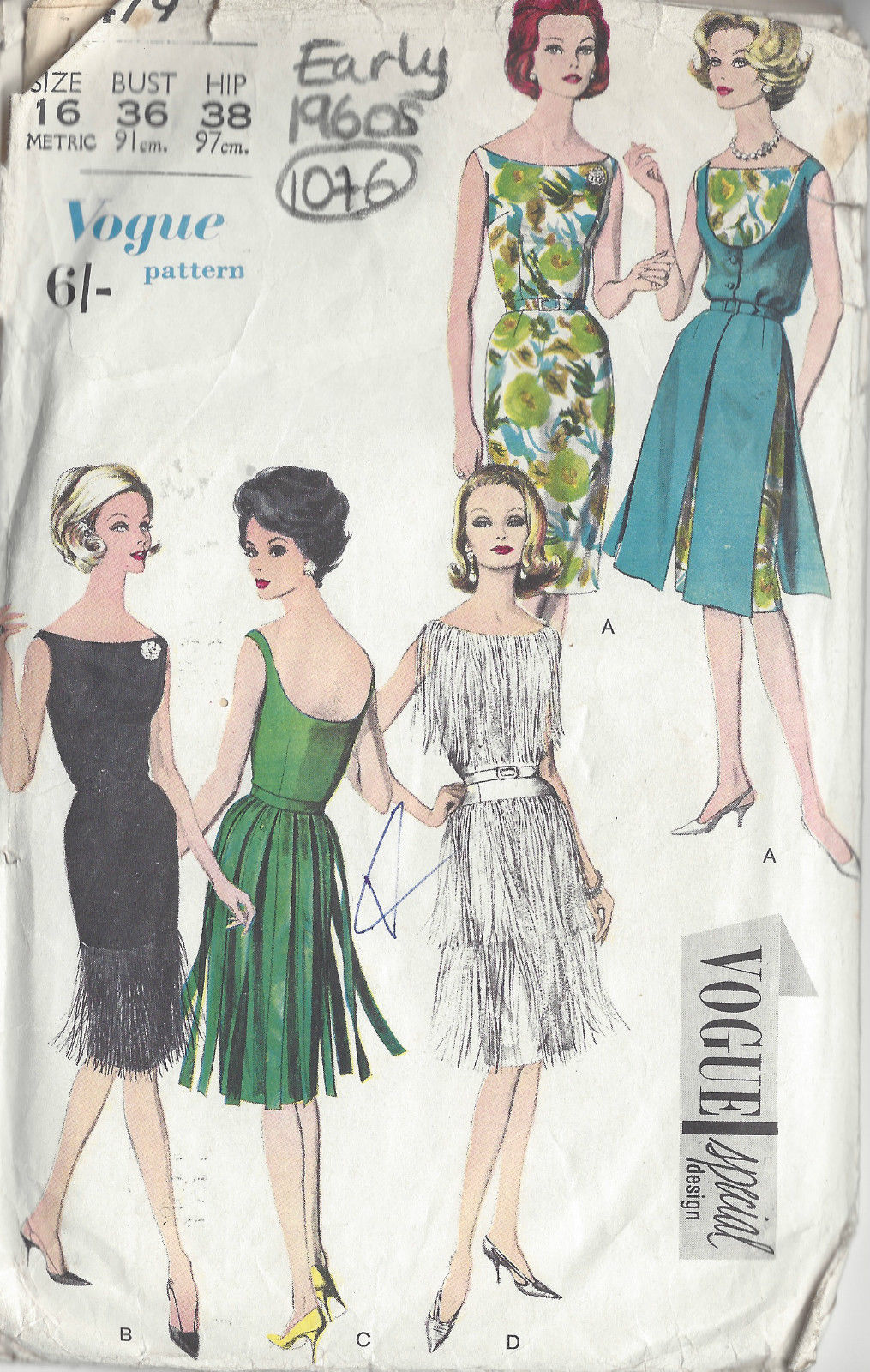 1960s Vintage Vogue Sewing Pattern B36 Quot Dress 1076 By