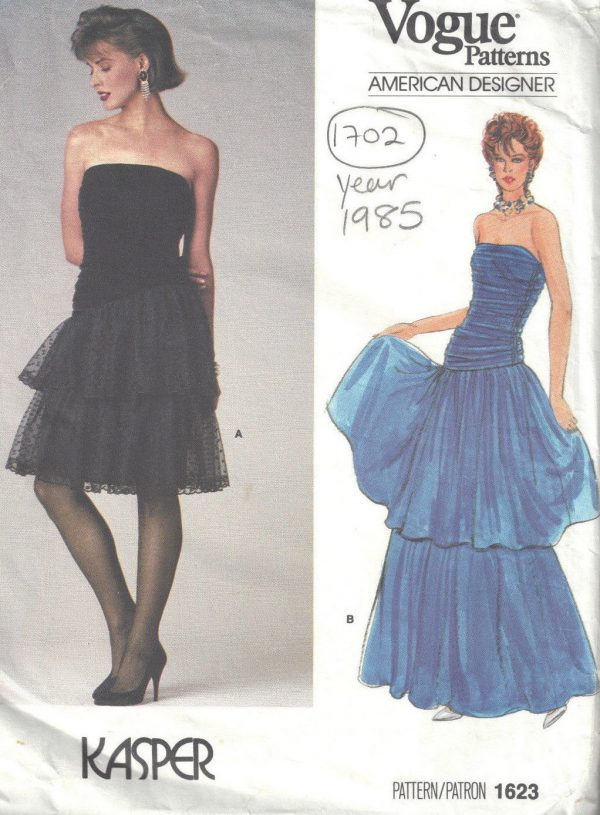 1985-Vintage-VOGUE-Sewing-Pattern-DRESS-B36-1702-By-Kasper-262557478952
