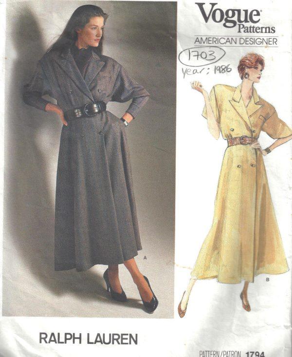 1986-Vintage-VOGUE-Sewing-Pattern-MOCK-WRAP-DRESS-B36-38-40-1703-RALPH-LAUREN-252484232772