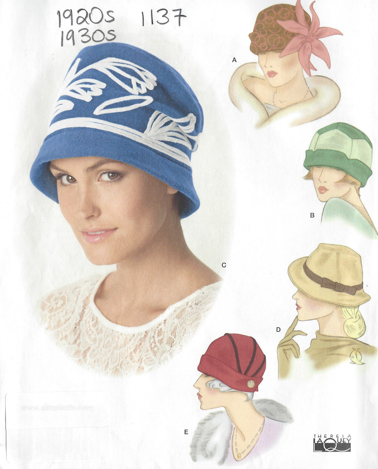 1920s & 1930s Vintage Sewing Pattern HAT S21-22-23 ins ...