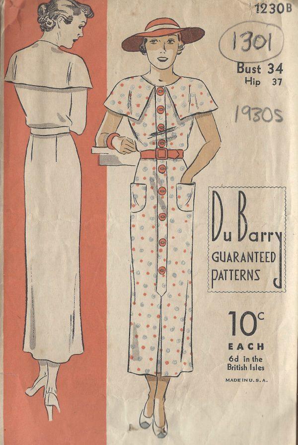1930s-Vintage-Sewing-Pattern-B34-DRESS-1301-261529012043