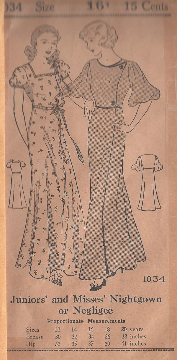 1930s-Vintage-Sewing-Pattern-B34-NEGLIGEE-NIGHTGOWN-R287-251164545943