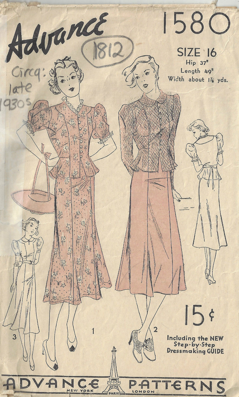 1930s vintage sewing pattern b34 two piece dress 1812 the 1930s vintage sewing pattern b34 two piece dress 1812 the vintage pattern shop jeuxipadfo Choice Image