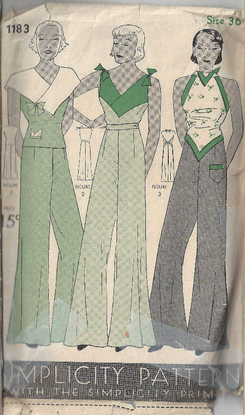1930s-Vintage-Sewing-Pattern-B36-BLOUSE-PAJAME-PANTS-NOT-pyjamas-1798R-252827246253