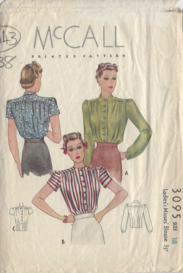 1938-Vintage-Sewing-Pattern-B36-BLOUSE-R943-251259645953