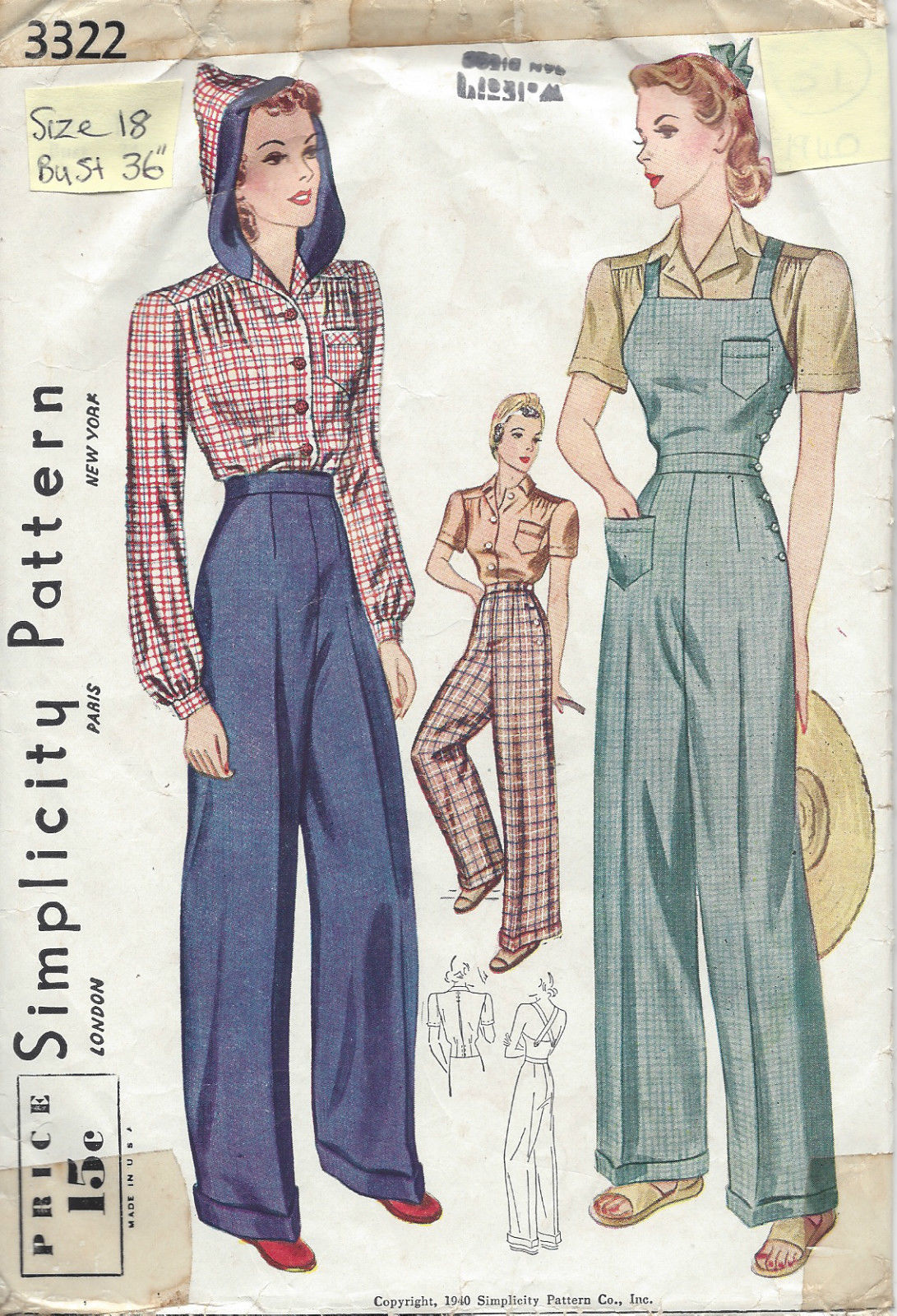 Sew Something Vintage 1940s Fashion: 1940 Vintage Sewing Pattern B36-W30 BLOUSE-TROUSERS