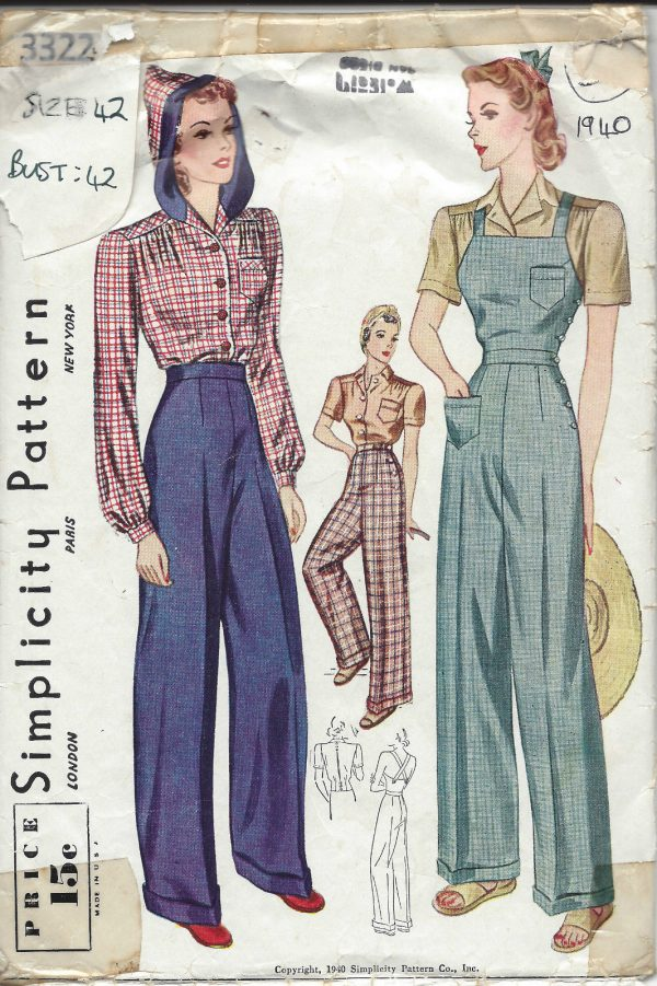 1940-Vintage-Sewing-Pattern-B42-W36-BLOUSE-TROUSERS-OVERALLS-1229-251976590453
