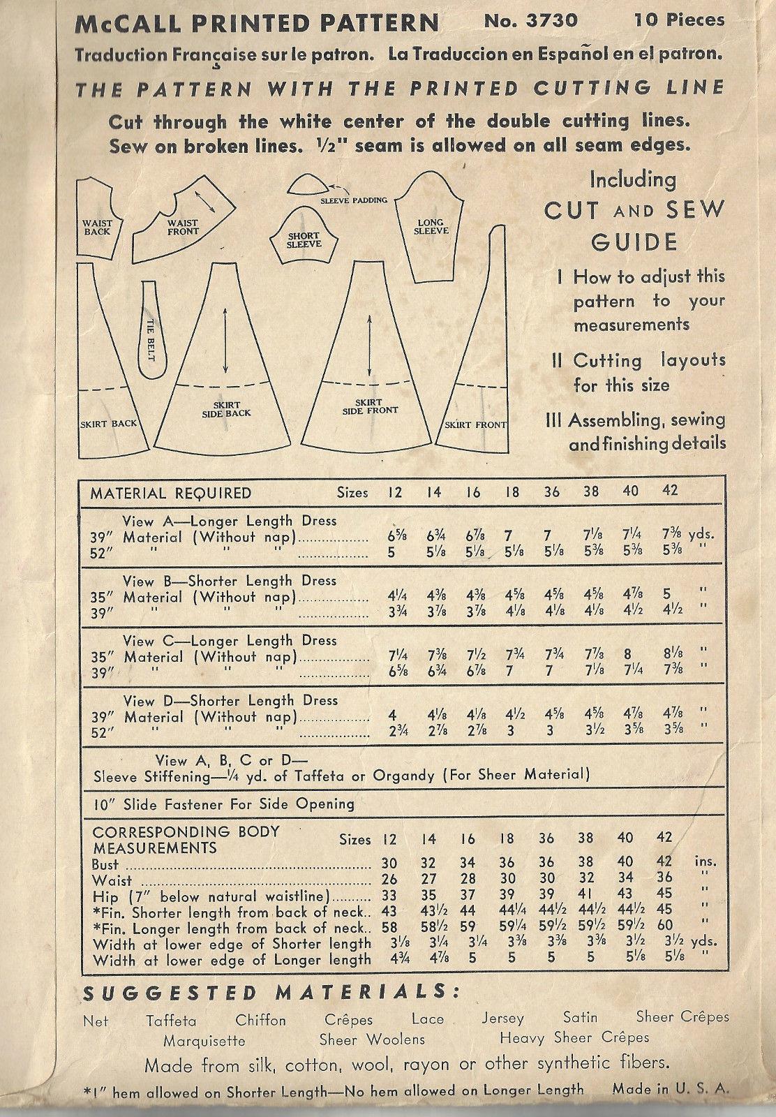 1940 Ww2 Vintage Sewing Pattern B30 Dress 1663 The Vintage