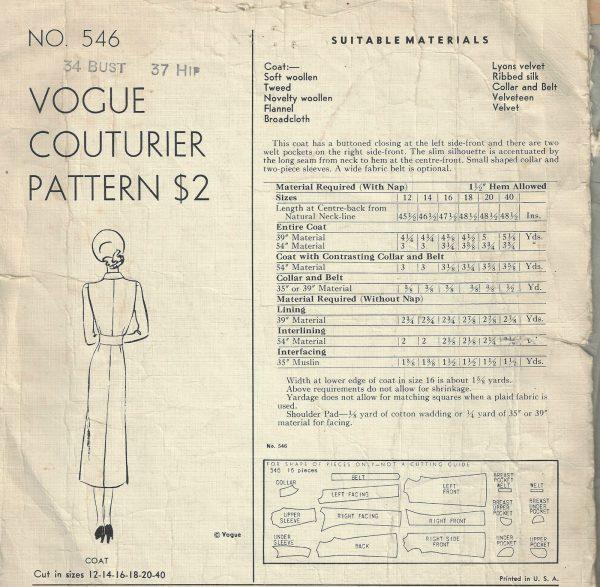 1940-WW2-Vintage-VOGUE-Sewing-Pattern-B34-COAT1609-252355321743-2