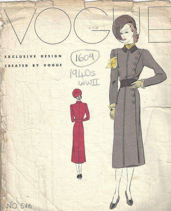 1940 WW2 Vintage VOGUE Sewing Pattern B34 COAT(1609) - The Vintage ...