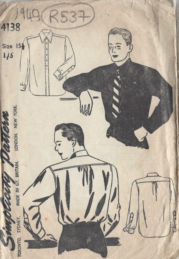 R537 1940s Vintage Sewing Pattern MEN/'S SHIRT S:15 1//2