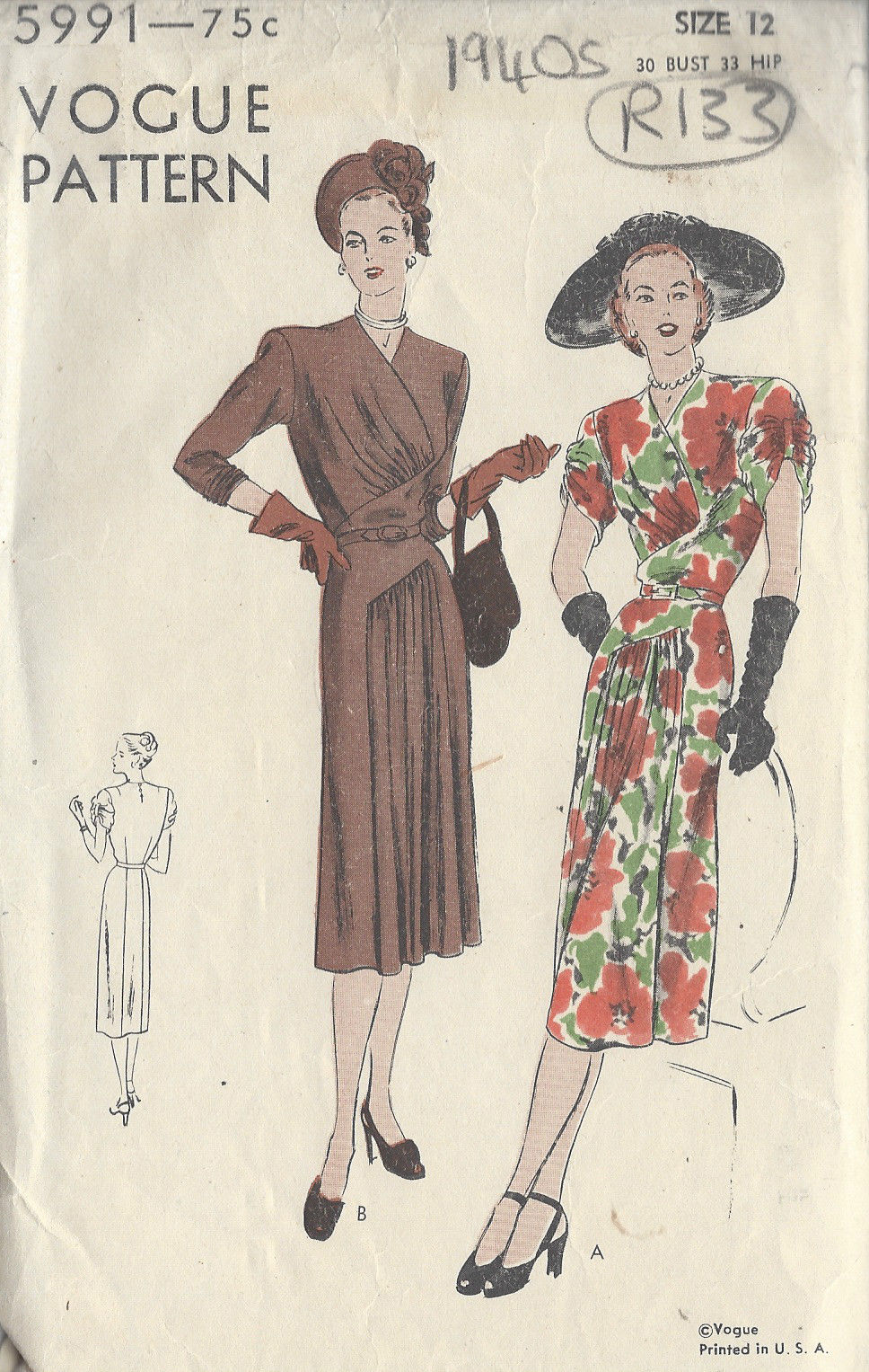 1940s Vintage Vogue Sewing Pattern B30 Quot Dress R133 The