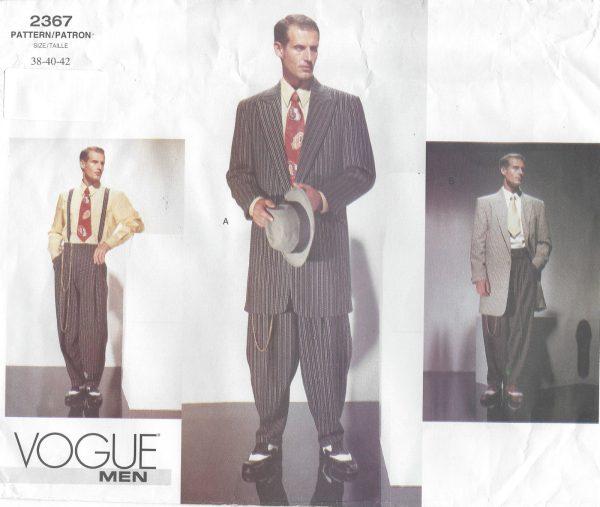 1940s Vintage VOGUE Sewing Pattern Chest 38-40-42 MEN\'S ZOOT SUIT ...