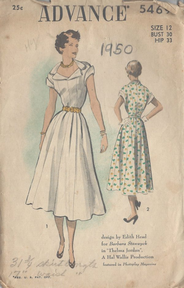 1950-Vintage-Sewing-Pattern-B30-DRESS-R843-By-Edith-Head-251221769653