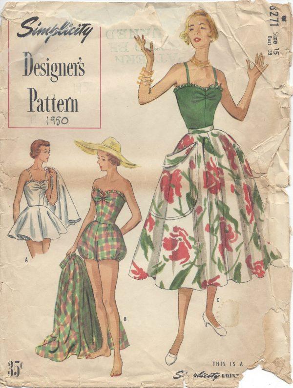 1950-Vintage-Sewing-Pattern-B33-BATHING-SUIT-SKIRT-RR975-261881837563
