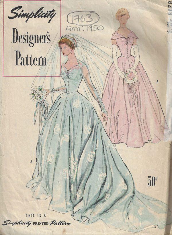 1950 Vintage Sewing Pattern B34 BRIDAL GOWN & BRIDEMAIDS DRESS (1763 ...