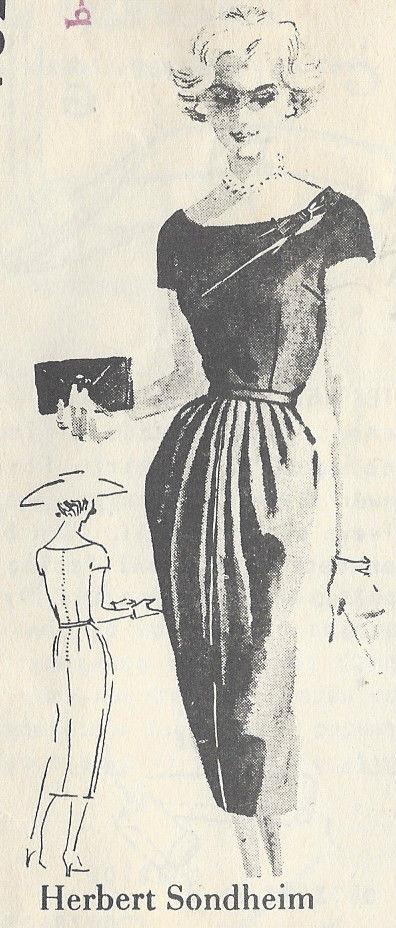 1950s Vintage Sewing Pattern DRESS B40\
